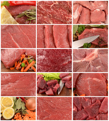 Collection of meat closeup