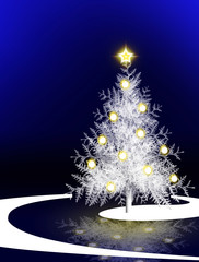 White Christmas tree on blue background.