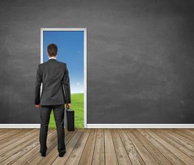 man standing in front of the door / EXIT / Landscape