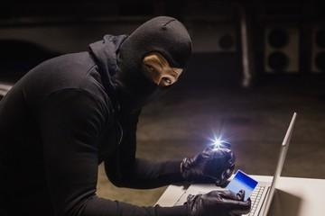 Robber shopping online while making light