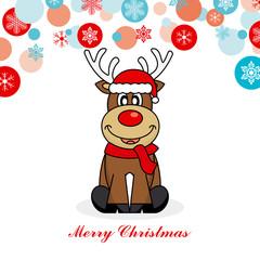 Christmas card. reindeer dressed as santa