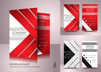 Business card design with red ribbons