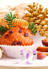 Chocolate Muffins  and Christmas  decoration.