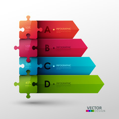 Vector template with puzzle pieces for infographic