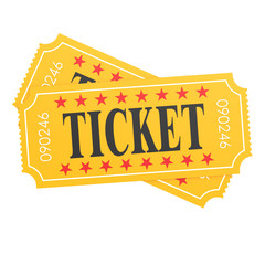 Two orange ticket on white background