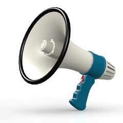 Isolated blue megaphone
