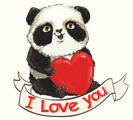 Card for Valentines Day cute panda