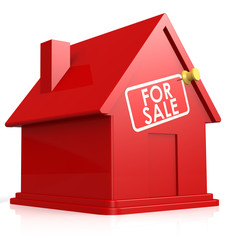 Isolated red house for sale