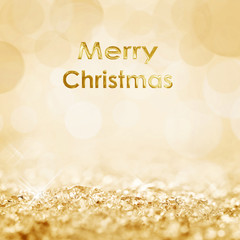 Merry Christmas snow and bokeh square golden background