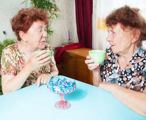 Two seniors drinks tea