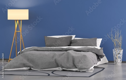 canvas print picture Blaues Schlafzimmer