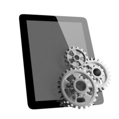 tablet pc and gears on white isolated background.