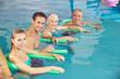 Leinwanddruck Bild - Gruppe beim Aquafitness im Schwimmbad