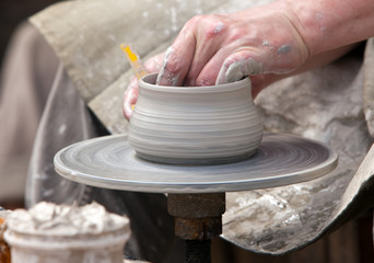 The potter during a jug molding