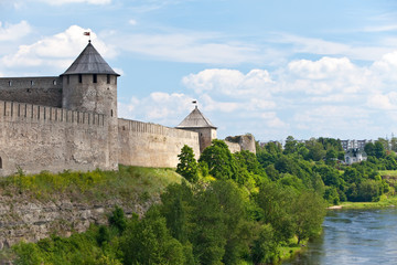 Ivangorod fortress at the border of Russia and Estonia..