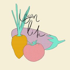 Cartoon vegetables. Hand drawn carrot, tomato, eggplant