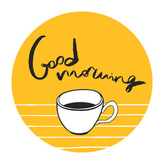 Round vector sticker with good morning message