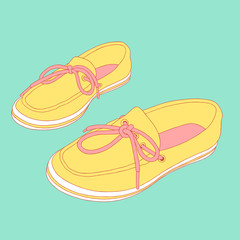 Vector moccasin illustration. Hand drawn women's shoes