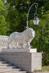 Sculpture of a lion of Yelagin Palace