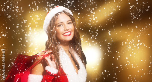 canvas print picture Woman shopping before christmas