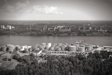 Stockholm port. Black and white photo.