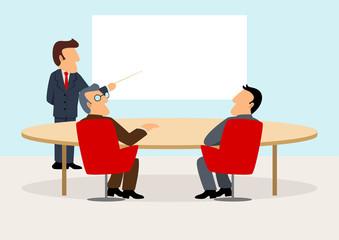 Simple cartoon of businessmen having a meeting