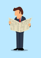 Simple cartoon of a businessman reading newspaper