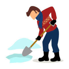 Simple cartoon of a man cleaning the snow
