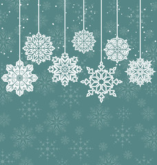 Christmas background with variation snowflakes