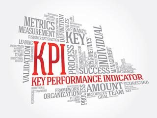 Wordcloud word tags of KPI - key performance indicators, vector