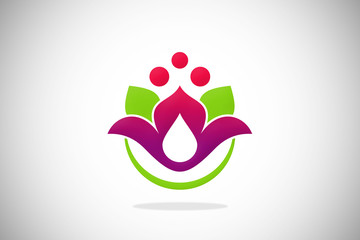 spa lotus flower ecology waterdrop design logo