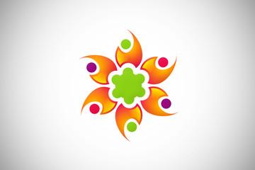 diversity abstract circle communication design logo