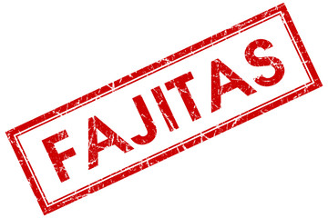 fajitas red square stamp isolated on white background