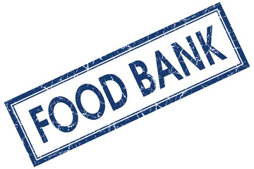 food bank blue square stamp isolated on white background