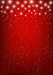 Shiny stars on red background