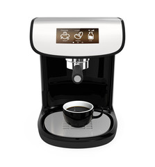 Stylish coffee machine with touch screen on white background