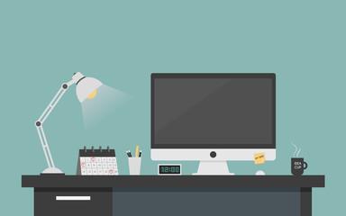 Computer desk workplace concept, Flat design vector illustration