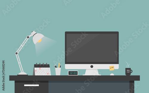 Computer desk workplace concept, Flat design vector illustration - 73668244