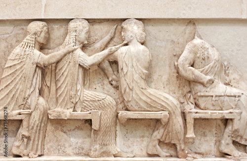 Keuken foto achterwand Wand Ancient Greek Temple Frieze detail, Delhpi, Greece