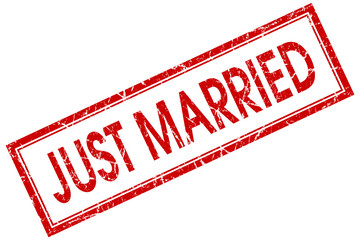 just married red square stamp isolated on white background