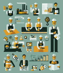 Factory production process icons set infographic vector