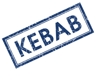 kebab blue square stamp isolated on white background