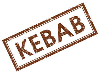 kebab brown square stamp isolated on white background