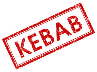 kebab red square stamp isolated on white background