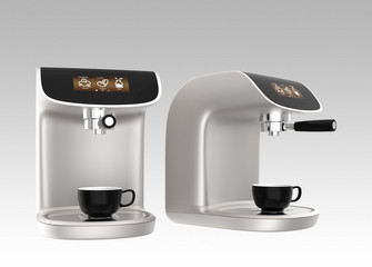 Stylish coffee machine with touch screen on gray background