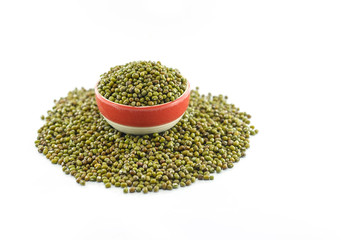 Green bean or mung bean isolated on white background
