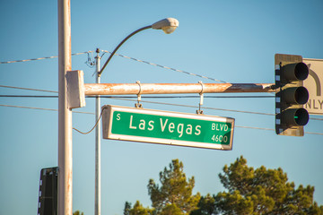 Las Vegas street sign on summer day