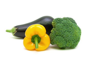 yellow peppers, ripe eggplant and broccoli isolated on white bac