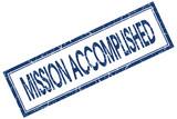 mission accomplished blue square stamp poster