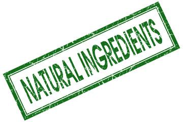 natural ingredients green square stamp